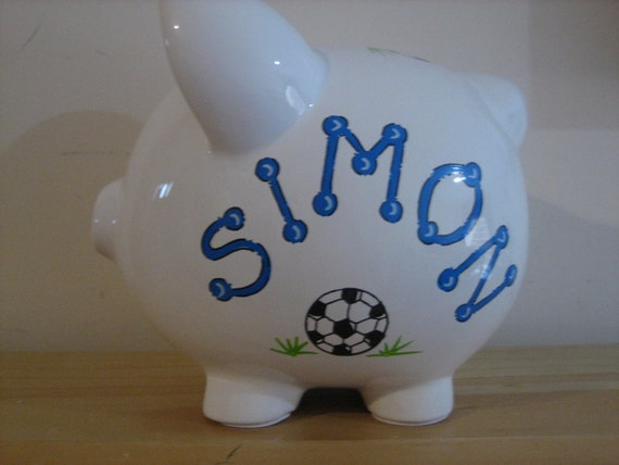Personalized Soccer Piggy  Bank Sports -Newborns , Boys , Girls , Baby Shower Gift Centerpiece