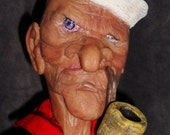 Old Popeye, Hand sculpted polymer clay art doll