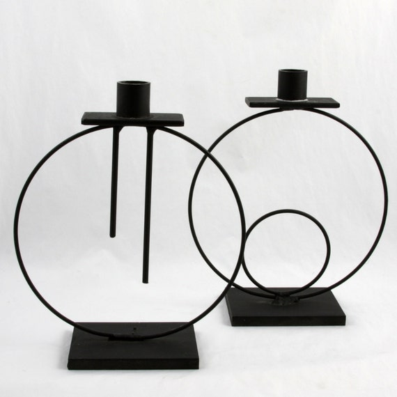 set of 2 brutalist-inspired Sculptural wrought iron Candle holders