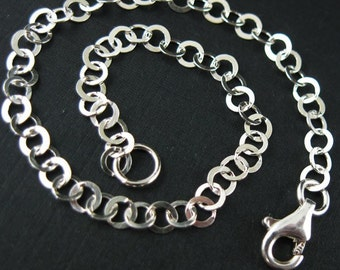 Sterling Silver Bracelet - 3.5 by 3.5 mm Flat Circle Link ( 7.5 inches ) - SKU: 601015