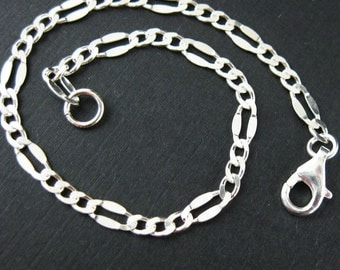 Sterling Silver Charm Bracelet- Fancy Figaro Chain (7.5 inches)- SKU: 601034