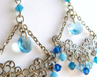 Triangle Crystal Earrings, Teal Blue Chandelier Earrings, Swarovski Crystals Earrings, Ocean Blue Earrings, Bridesmaid Jewelry