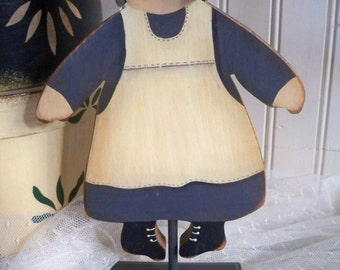 Amish Girl Wooden Figurine