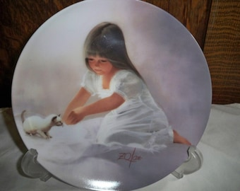 Pemberton & Oakes Collectible Plate - Tender Beginning - Children and Pets Collection - Donald Zolan- 1985