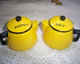 Salt and Pepper Shakers - Vintage Bright Yellow Tea Pots