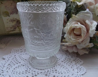 Vase - Fenton Embossed Crystal Velvet Glass Footed Vase