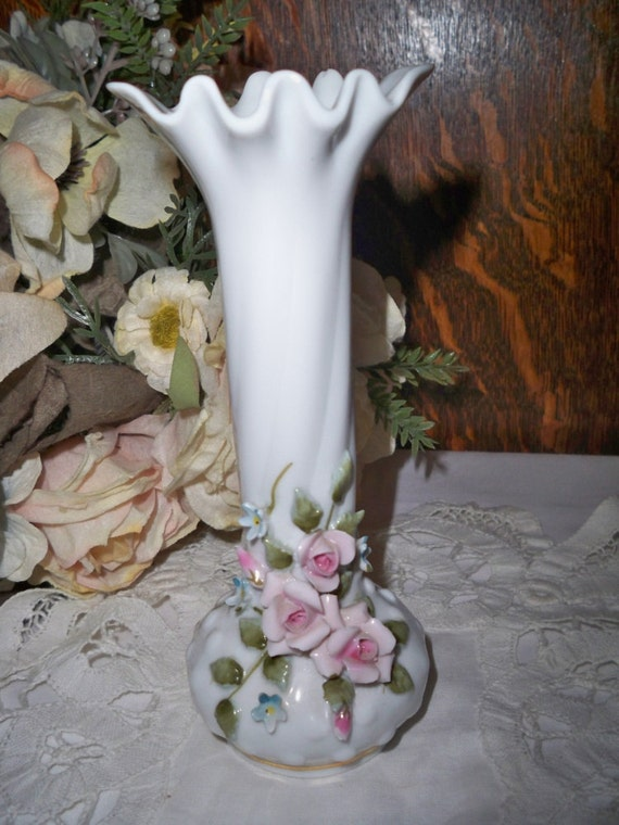 Vase Lefton Hobnail Milk Glass Bud Vase