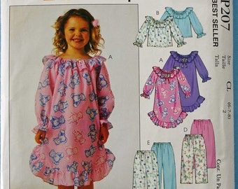 Girls Nightgown, Tops and Pants McCalls P207
