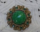 CELLULOID and METAL BROOCH, Green Rhinestones, Marked W. Germany, Vintage Costume Jewelry