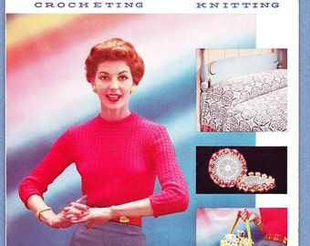 PURITAN BOOK III, American Thread Co. Book No. 132, Crocheting and Knitting, 1950s