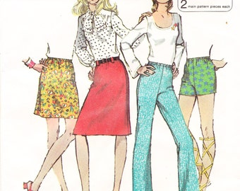 PANTS, SHORTS, SKIRT Pattern, Jiffy Simplicity 9926, 1972, Misses Size 14, Vintage Sewing Supply