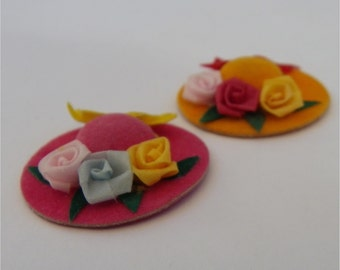 MINIATURE HATS, Set of Two, Felt and Ribbons, Vintage Dollhouse, Millinery Shop Accessory
