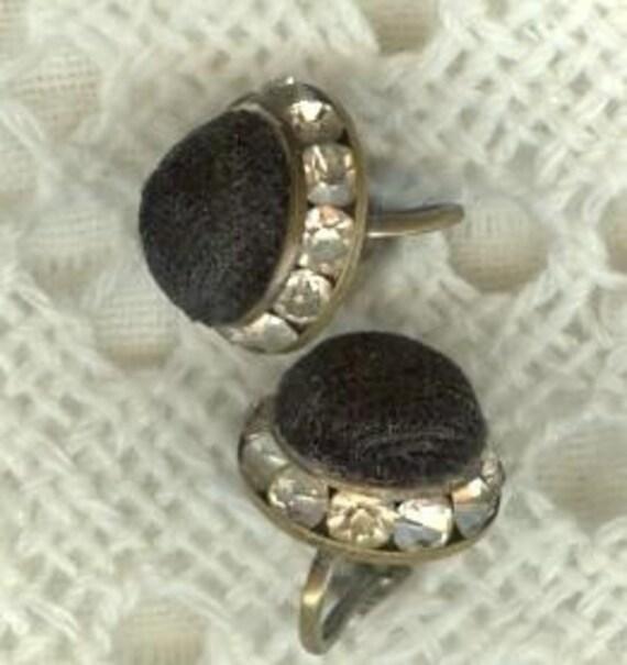 BLACK VELVET and RHINESTONE Earrings, Screw Backs, Vintage Costume Jewelry