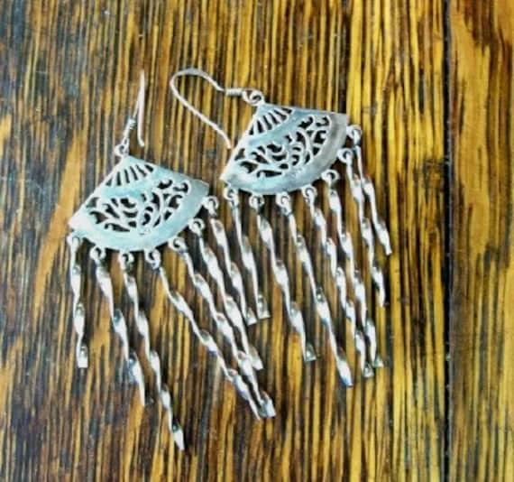 STERLING FAN EARRINGS, Asian-Inspired Style, Vintage Costume Jewelry