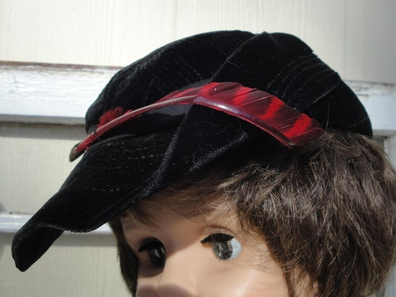 CHILD'S VELVET CAP with Red Feather, Alpine-Inspired, Vintage Children's Clothing