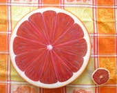 Grapefruit Lazy Susan, Hand Painted, 15 inch, Wood