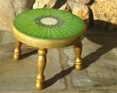 Hand Painted Foot Stool, Kiwi Design