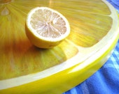 Giant Lemon Slice Lazy Susan, 24 Inch Diameter, Wood - JaneSuzanne