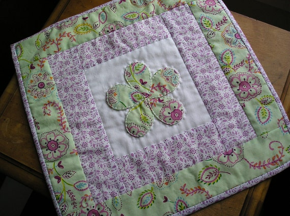 50% off Hand Quilted Floral Table Topper