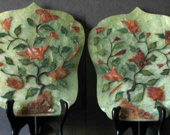 Vintage Pair of Chinese Jade Carved Plaques/Table Screens