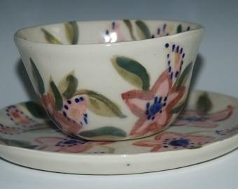 Flowered Porcelain Bowl and Plate set