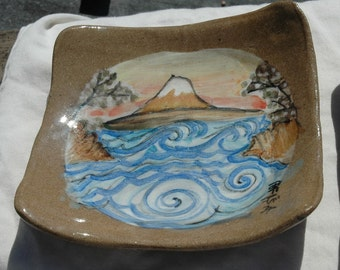 3 Stacking Handmade Mt. Fuji Plates / Serving Set / Dishes / Trays