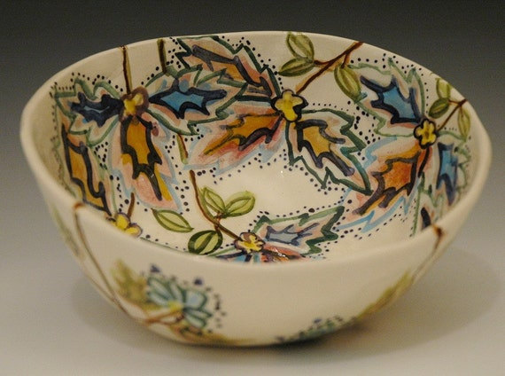 Porcelain Bowl with wildflowers