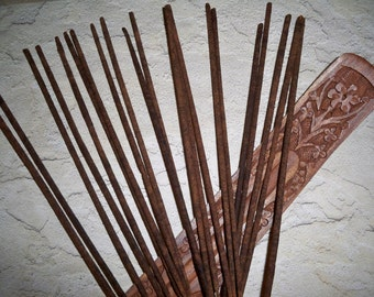 20 Hand Dipped Patchouli Incense Sticks and Carved Wood Holder