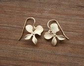 Gold orchid earrings, flower earrings - bridesmaids gifts, wedding jewelry, bridal jewelry, birthday gift, short everyday jewelry