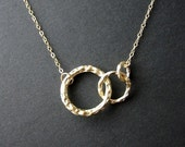 Triple gold hammered ring circle necklace - gold filled chain - love circles, family, friendship, eternity, endless love