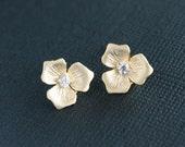 Trio pedals flower gold earrings, flower earrings, cubic zirconia cz - short post stud earrings, wedding bridal jewelry gift