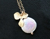 Orchid and coin pearl necklace, gold filled chain, orchid flower, freshwater pearl - wedding jewelry, bridesmaids gifts, everyday wear