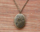 Flower locket necklace, antique brass photo locket - cute simple everyday friendship, couple, family necklace