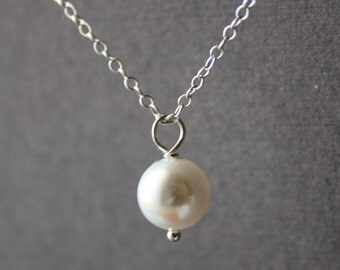 White pearl necklace, sterling silver necklace, single round pearl jewelry - wedding jewelry, bridesmaid gifts, bridal jewelry, flower girl