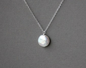 Pearl necklace on sterling silver chain, white freshwater coin pearl - wedding jewelry, bridal jewelry, simple everyday jewelry