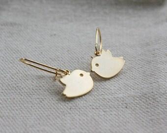 Baby bird earrings - gold earrings, love birds, couple, family, friendship jewelry , wedding jewelry, birthday gifts