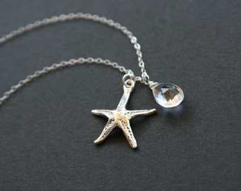 Starfish necklace and gemstone, Gemstone necklace, Beach wedding, Bridal party gift, Bridesmaid gift, Mother necklace, Sterling Silver