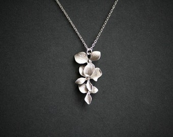 Silver Orchid Flower Necklace Flower Jewelry, wedding jewelry, bridesmaids gifts, dainty everyday wear, silver flower necklace