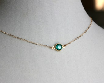 Crystal emerald necklace, Green necklace, Gold necklace, Simple everyday necklace, Tiny dot crystal necklace, Green teal necklace