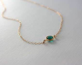Emerald green crystal necklace - gold filled chain - small dainty gold necklace, simple everyday jewelry, bridesmaid gifts, emerald necklace