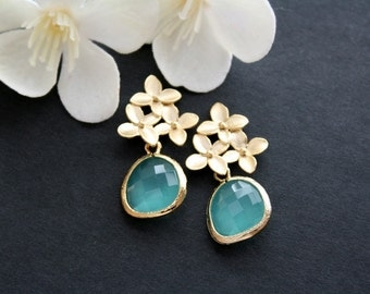 Gold cherry blossom with aqua stone earrings - gold wedding, bridal earrings gift