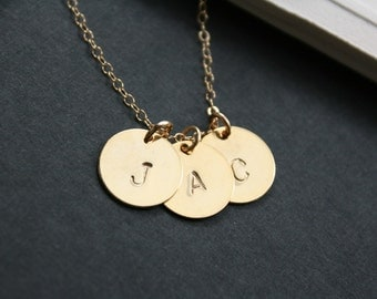 Custom Three initial necklace, personalize necklace - gold disc charms - family necklace, best friends, weddings, bridal jewelry gift