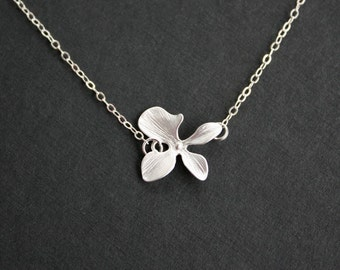 Silver orchid necklace - short dainty necklace, wedding jewelry, bridesmaids gifts, bridal jewelry, everyday, mothers day gifts