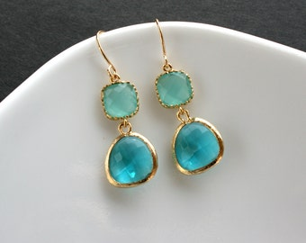 Glass stone earrings, Blue earrings, Bridesmaid gift, Wedding jewelry, Bridal party gift, Teal blue, Gold earrings, Bridal earrings