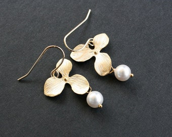 Gold orchid flower with pearl earrings