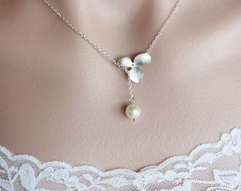 Orchid flower and white pearl lariat necklace, sterling silver chain, wedding necklace, jewelry gift