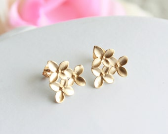 Gold cherry blossom earrings - hydrangea wedding jewelry, bridal jewelry, bridesmaids gift, everyday jewelry