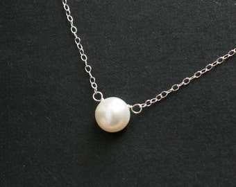 Dainty pearl necklace - sterling silver, simple elegant gift, bridal, wedding jewelry, bridesmaids gifts, bridal jewelry, pearl jewelry