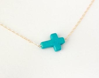 Turquoise sideways cross necklace, 14K gold filled chain, blue necklace jewelry