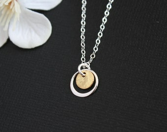 Gold brushed disc with silver karma necklace for simple everyday jewelry, TWO TONE necklace timeless chic bridal mother gif